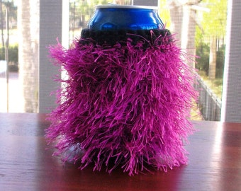 Purple Fuzzy Can Cozy
