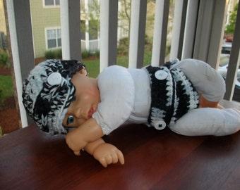 Black White Newsboy Hat Diaper Cover Newborn