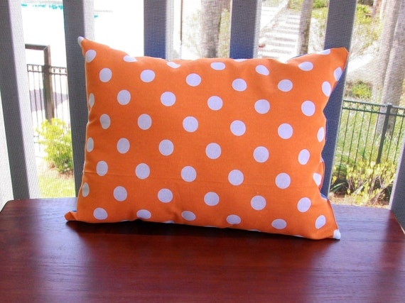 Orange Blue Polka Dot Pillow 12x16