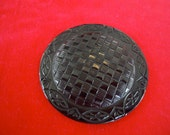 "Vintage, button, tight top celluloid, Very large, 2.5"", black luster,  small domed basket weave front. LB10.5-4."