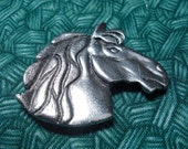 """Horse head button cover, Vintage,silver toned. 1.5"""". Stamped 'NONY' New York, Lovely horse/pony head in relief, flowing mane. PFM12.1-29.34."""