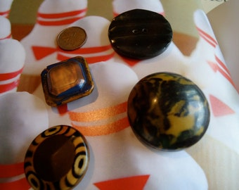 Vintage celluloid,tight top buttons over metal, 3have sew through tunnels,    LB10.5 - 6, 8, 9, 10.