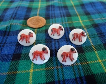"""5 Vintage,  glass buttons, 0.5"""" ins., embossed with raised painted animal motif,. UNK/P10.3 - 12"""