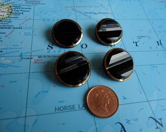 """4 Vintage, black glass trimmed with gold, 1"""" across, mint condition buttons. Matched set of 4.  LD11,4 - 2, 2a, 2,b."""