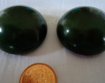 "Celluloid tight top, air blown,  green vintage buttons. 1.5"" ins across, 0.5"" tall.   PFM11.10-9."