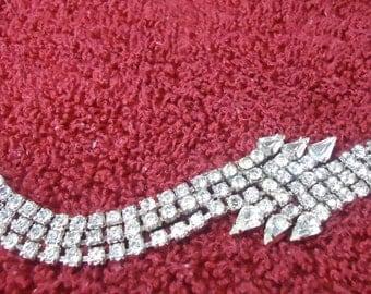 "Vintage Rhinestone bracelet. Donton Abbey look.  7"" ins long and 0.25"" wide.  Arrow head design.  Art Deco design. JVFM12.2-11.12"