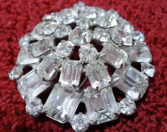 """Lovely, large vintage rhinestone brooch, pin, in two tiers, 3  sizes of stones, clasp. 2"""" ins across. Lovely sparkle. HB12.2-26.1."""