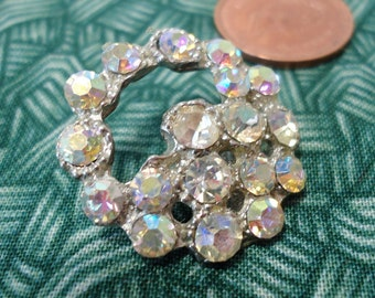 "Open crystal vintage  button, aurora borealis, 1"" inch diameter half moon design, open basket.  KAM12.4-14.12"