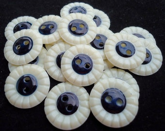 """RESERVED: 5 Vintage celluloid wafer buttons, 2 holes, navy center. 0.6"""" ins across.  PEI/KK11.11-6.10"""