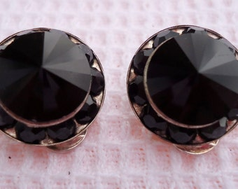 "Vintage black glass cone shaped, clip on earrings. Facet cut. 0.5"" ins  diameter. Elegant, wear for dressy or casual events.STGS12.3-3.4."