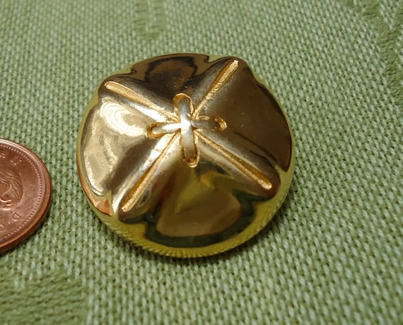 """2 Vintage, 1"""" inch, metal, tied like a parcel buttons with self shank. Nice unusual design.  UNK/P10.11-12.3-11.4"""