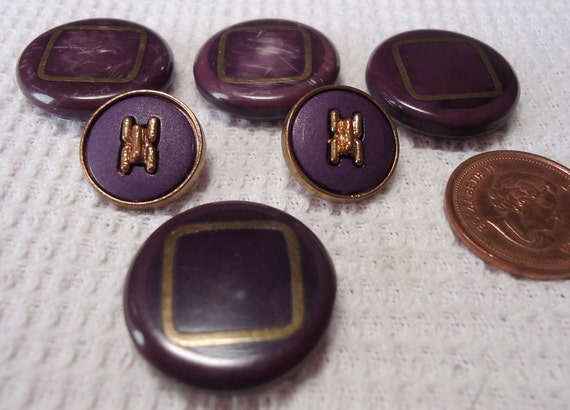 "RESERVED Deveeres 6 vintage buttons, mauve, red/brown 2 styles,0.5"" and 1"" in across, with gold accents. HMSH12.1-23.6."