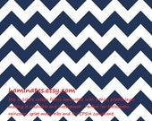 LAMINATED cotton fabric by the yard - Navy chevron yardage (aka oilcloth, vinyl, coated)