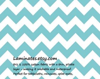 LAMINATED cotton fabric by the yard - Aqua Chevron yardage turquoise medium (aka oilcloth vinyl coated fabric)