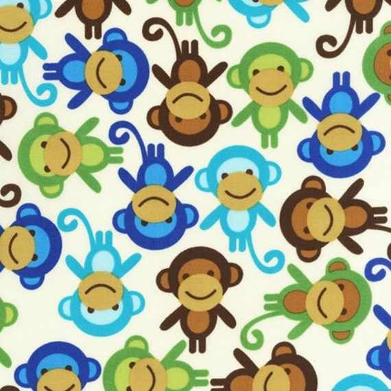 18 X 20 LAMINATED cotton fabric (aka oilcloth coated wipeable fabric) - Monkey Anne Kelle Urban Zoologie BPA free - approved for children