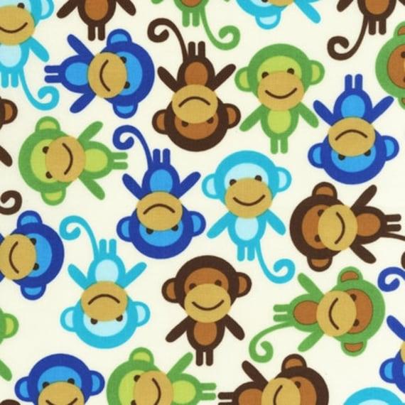 18 X 20 LAMINATED cotton fabric - Monkey Anne Kelle Urban Zoologie BPA free (aka slicker, coated, oilcloth) Kaufman