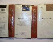 3 Pairs 1980s Semi Sheer Tights - Tan, Dark Brown, Black, Unused, Size M/L.