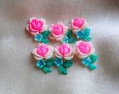 RESERVED for Cyndelle-2 Vintage Japanese Hand-painted Flower Embellishments 20mm
