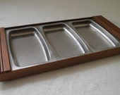 Vintage Stainless Steel and Walnut Serving Tray