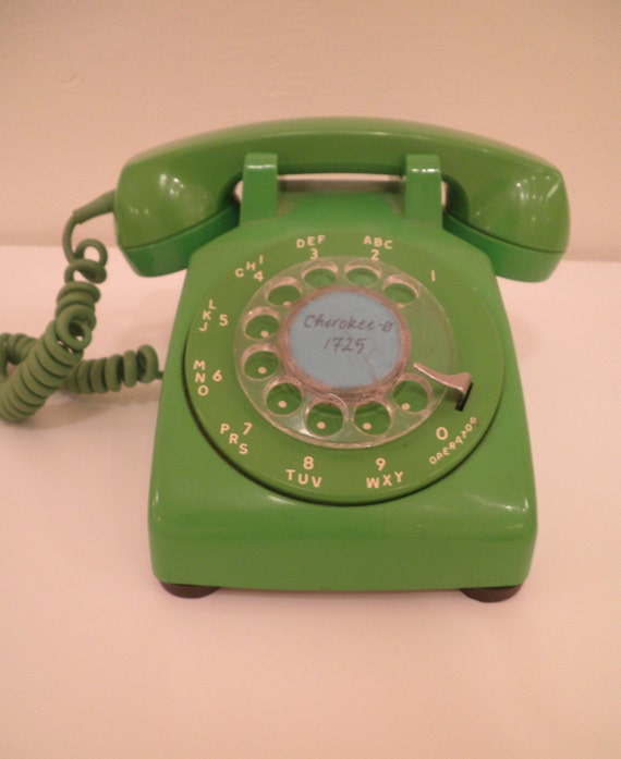 Lime Green Rotary Telephone