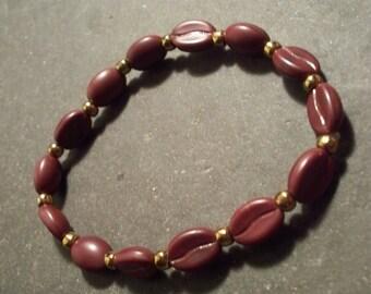 Coffee bean bead bracelet