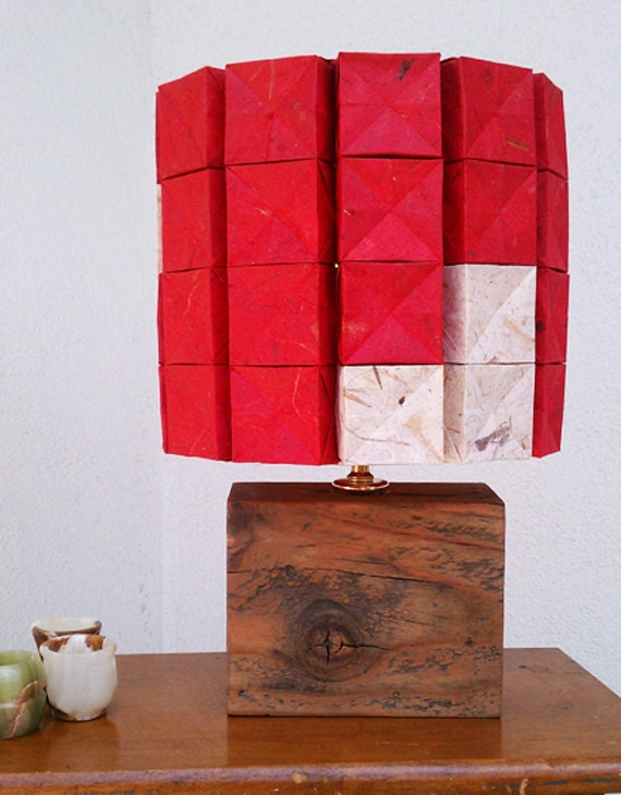 SALE Candy Striper Lamp with Repurposed Wood Base SALE