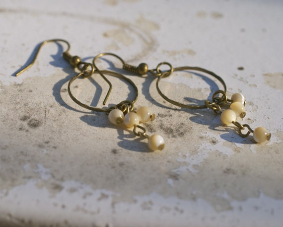 Limbo - brass and mother of pearl drop earrings