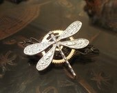 Steampunk Dragonfly Barrette in Bright Silver