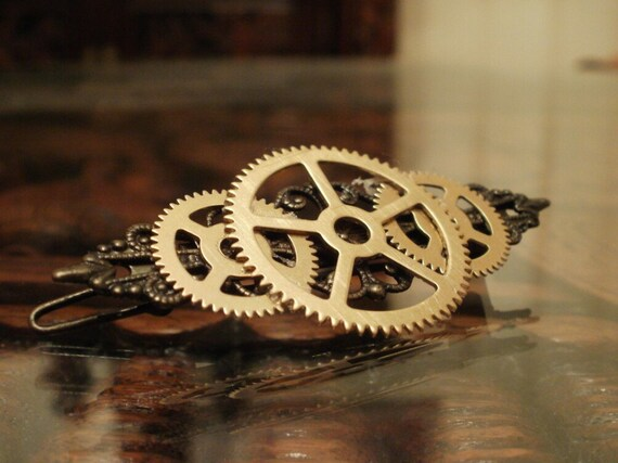 Steampunk Triple Gear and Filigree Hair Clip