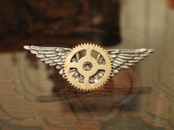 Steampunk Sky Captain Badge in Silver