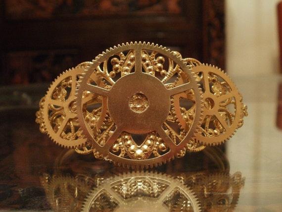 Large Brass Steampunk Gear Bracelet