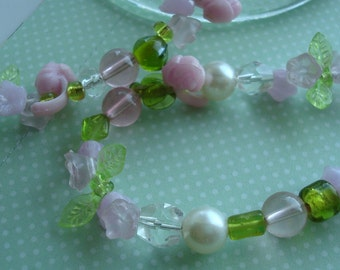 Sweet Pink Flowers, Pearls, Green Leaf Necklace and Matching Earrings