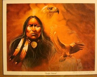 Native American Art Eagle Vision By Gale Running Wolf Sr.