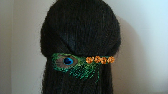 Peacock Feather and Copper Extra Large Barrette