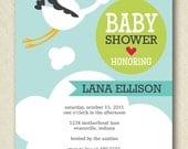 stork baby shower invite PRINTABLE 5x7 digital file DIY