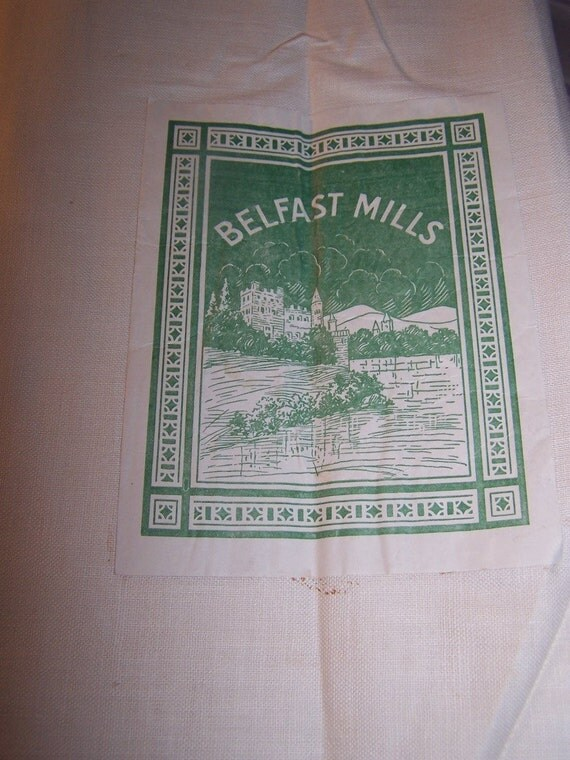 SALE  Vinatge Belfast Mills Irish Linen 3 yards Antique 1950's