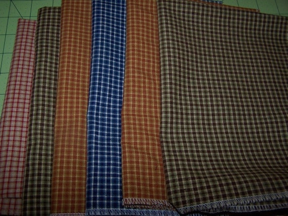 Gingham Plaid  Lot of 6 Upholstery Fabric  Blue Red Brown Green  SALE Dest