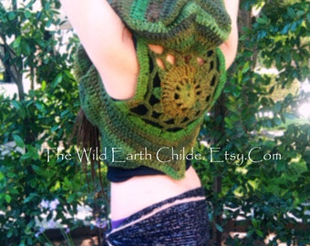 Earth Dancer Pixie Vest- Custom Made For You- Knit Crochet Gypsy Hippie Hippy PDF Sweater jacket Hoodie Hoody Vest Womens Clothing