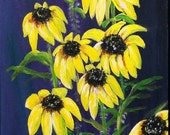 A field of Black eyed Susan Flowers under a Deep Purple Night Sky Painting