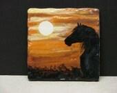 Horse Silhouette at Sunset Original Painting on 6x6 ceramic tile