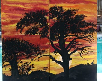 Giraffes and Trees in African Sunset Original painting; landscape painting, African Art, canvas painting, large office art, diptych art