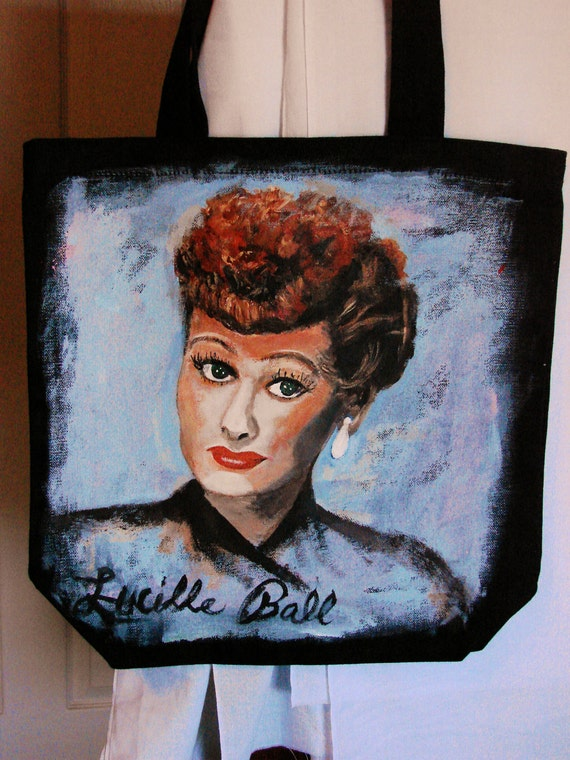 The Iconic Lucille Ball original, painting on canvas tote  FREE SHIPPING within the 50 states