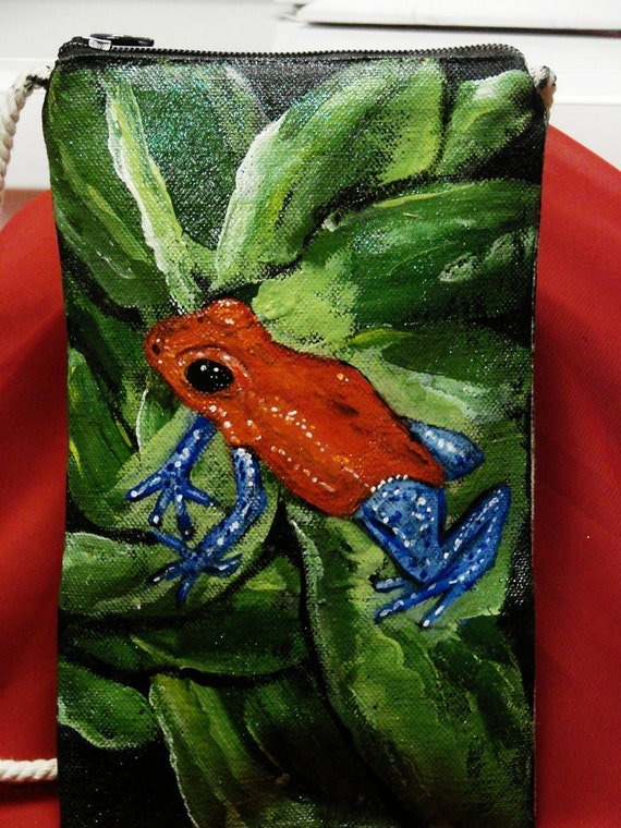 Strawberry Red Dart Frog hand-painted mini tote