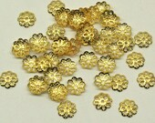 Gold colour filigree 8mm bead caps for your art or jewelry projects (BS1008)- 100 beads