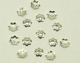 Silver colour 6mm bead caps for your art or jewelry projects- 100 beads