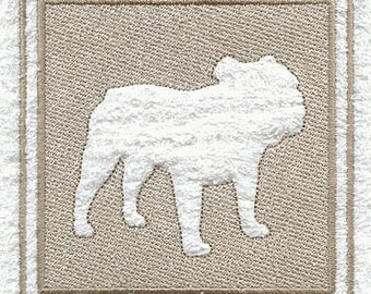 Bulldog Embossed Style Embroidered Flour Sack Hand/Dish Towel