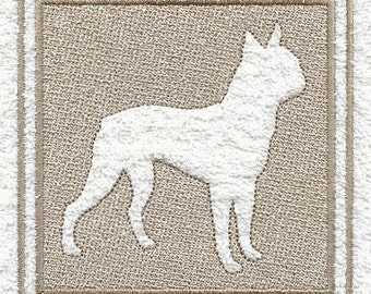 Boston Terrier Embossed Style Embroidered Flour Sack Hand/Dish Towel