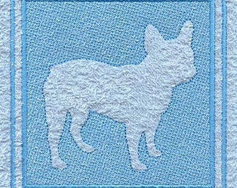 French Bulldog Embossed Style Embroidered Flour Sack Hand/Dish Towel
