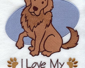 I Love My Golden Retriever Embossed Style Embroidered Flour Sack Hand/Dish Towel