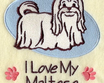 I Love My Maltese Embroidered Flour Sack Hand/Dish Towel